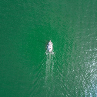Aerial of a boat in the water